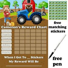 Reusable Reward chart Jetters Free Stickers & pen. MAGNETIC Personalised