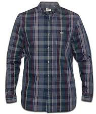 Lacoste Mens Slim Fit Long-Sleeved Boxwood Navy & Maroon Check Shirt