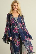 Navy Blue Floral Print Umgee USA BOHO Bohemian Chic Cowgirl Bell Sleeve Cardigan