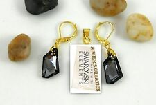 18K Gold Filled Earrings Swarovski Elements Leverback Dangle De-Art Crystals Box
