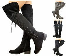 Women's Low Heel Thigh High Lace Up Over the Knee Foldover Faux Suede Boots