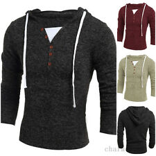 Winter Men Slim Hooded Cool V-neck Knitted Pullover Sweatshirts Outwear Sweater