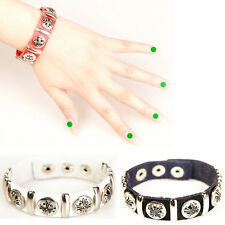 Punk Leather Couple Cross Rivet Charm Wristband Bracelet New Wrist