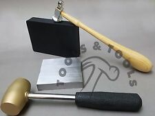 BRASS & DOME CHASING HAMMERS STEEL & RUBBER BENCH BLOCKS KIT DAPPING JEWELRY