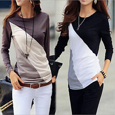 Women Casual Tops New T-Shirt Loose Fashion Blouse Cotton Blouse Long Sleeve Q