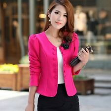 New Fashion Women Slim Solid Suit Blazer Jacket Office Coat Casual Outwear Candy