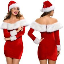 Miss Mrs Santa Claus Christmas Xmas Party Costume Fancy Dress Sexy Outfit & Hat
