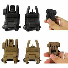 2 x Tactical Transition Button Folding Up Front & Rear Set Flip Up Backup Sights