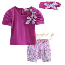 Baby Girls Outfit Toddler Bow T-shirt Top + Floral Shorts Set Infant Clothes