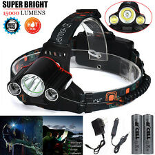 15000LM Headlamp CREE XM-L 3 x T6 LED Outdoor Headlight Light + 18650 + Charger