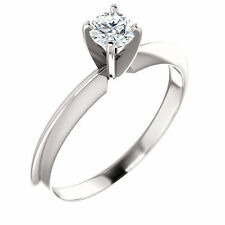 Moissanite Solitaire Engagement 4 Prong Ring 0.25, 0.50, 0.75 Carat 14K Gold
