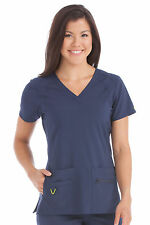 Activate by Med Couture Women's Refined V-Neck Solid Scrub Top 8416-Navy