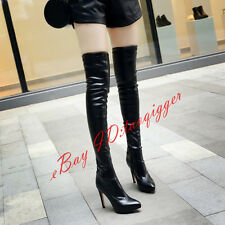 STRETCH BOOTS WOMEN'S SEXY SLIM HEEL OVER KNEE HIGH BOOTS POINTY TOE DRESS SHOES