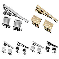 Men's Cufflinks Tie Bar Clip Clasp Engravable Wedding Shirt Suit Christmas Gift