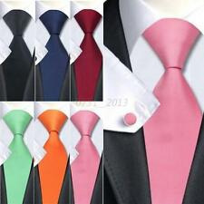 Fashion Men Formal Silk Tie Solid Plain Wedding Party Jacquard Woven Necktie Set