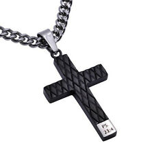 Engraved Black Cross Pendant, PSALM 23:4 Bible Verse, Stainless Steel Curb