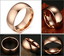 8mm Mens Tungsten Carbide Rose Gold Plated Classic Domed Shape Wedding band Ring