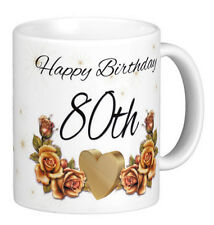 Birthday Gift Mug, 50th, 60th, 70th, 80th Birthday Celebration Gift Mugs, Floral