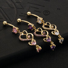 CZ Heart Dangle Helix Belly Ring Piercing Navel Nail Modern Delicate