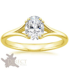 9ct Yellow Gold Oval Shape Created DIAMOND ENGAGEMENT Ring Split Claw Prongs