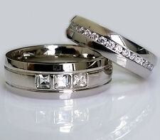2 PC Men's Women's Eternity Wedding Anniversary CZ Band Ring Set Stainless Steel