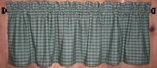 Green and Tan Plaid Homespun Valance Tiers Primitive Country Curtains Kitchen