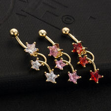 CZ Star Staggered Dangle Helix Belly Ring Piercing Body Jewelry Modern