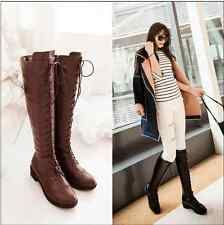 Womens Retro Roman Lace Up Flats Knee High Kinght Boots Punk Wing Tip Shoes New