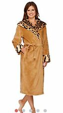 NEW WOMENS MED TIGER DENNIS BASSO SNUGGLY PLUSH & FAUX FUR HOODED ROBE H206785