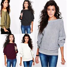 Ladies Celeb Inspire Batwing Oversized Rib Knitted Jumper Cardigan Top Plus Size