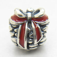 Christmas gift Authentic Genuine S925 Silver Red Pine Cone Enamel Charm