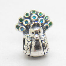Authentic Genuine S925 Silver Peacock with Green CZ Charm