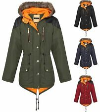 New Unisex Boys Girls Quilted Parka Fishtail Contrast Inner Jacket