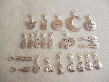 Handcrafted Words Silver Clip-On Charms Thoughts Feelings Wisdom