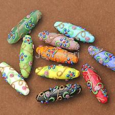 Pack of 5pc Delicate Colored glaze Flower Carved DIY Beads Pendants