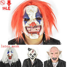 Scary Clown Mask Wide Devil Face Red Hair Evil Adult Creepy Halloween Costume