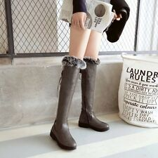 Women sweet PU leather fur trim side zipper over knee high quilted riding boots