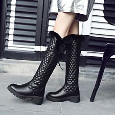 Women sweet PU leather fur trim side grid over knee high quilted riding boots