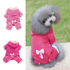 Cute Pet Dog Soft Warm Pajamas Coat Polka Dot Puppy Hoodie Clothes Jumpsuit Suit