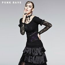 Punk Rave Ava Black & Purple Lace Strapless Black Top [Special Order] - Gothic,G