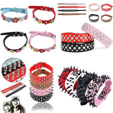 Adjustable Pet Dog Cat Puppy PU Leather Crystal Studded Flower Neck Strap Collar