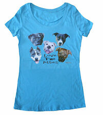 Love The Pitties Womens' Scoop Neck Pit Bull Tee (Vintage Turquoise)