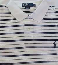 NEW MEN'S POLO RALPH LAUREN CLASSIC FIT S/S STRIPED GOLF SHIRT, WHITE, X-LARGE