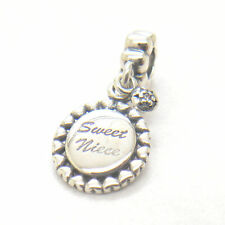 Genuine Authentic S925 Silver Sweet Niece Clear CZ Dangle Bead Charm