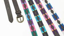 NEW Shires Leather Drover Skinny Polo Belt - Embroidered / Stitching Detail