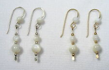 Lyns Jewelry Mother of Pearl Drop Earrings Silver or Gold