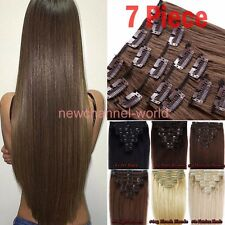 """17-26"""" 7/8Pcs Full Head Clip In Hair Extensions Real as Human HairPiece Straight"""