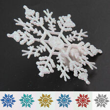 12 Pcs Glitter Snowflake Christmas Ornaments Xmas Tree Hanging Home Decoration