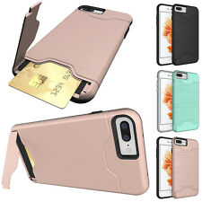 Rugged Hybrid Hard Case Cover Plug-in Card Stand for Apple iPhone 7 4.7/6S Plus
