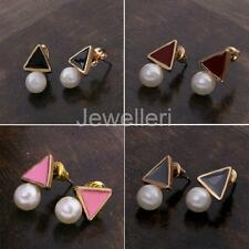 Stylish Korean Imitation Pearl Earrings Triangle Ear Studs for Girl Gift Jewelry